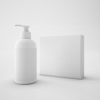 Caixa branca e recipiente de sabão