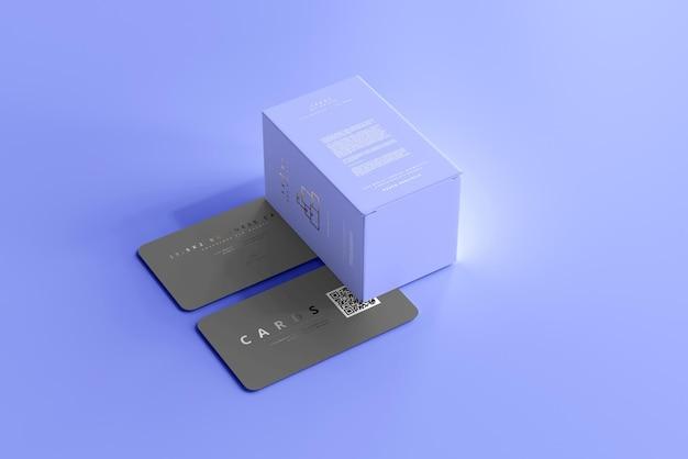 Caixa com maquete de cartões de visita
