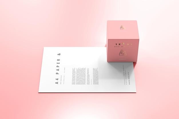Caixa com maquete de papel a4