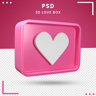 Caixa de amor girada 3d