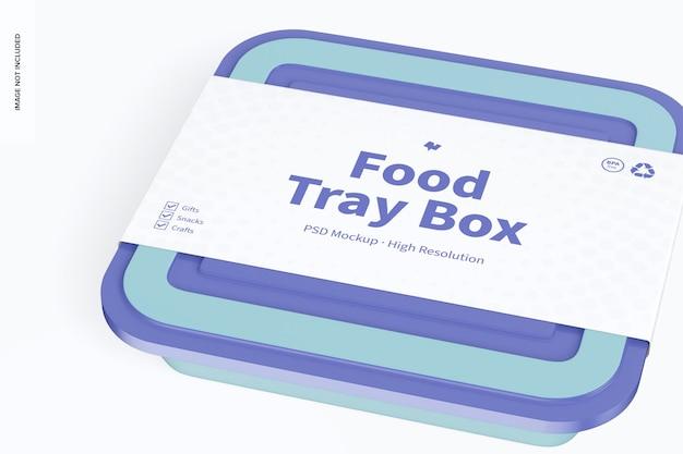 Caixa de bandeja de alimentos com tampa maquete, close-up