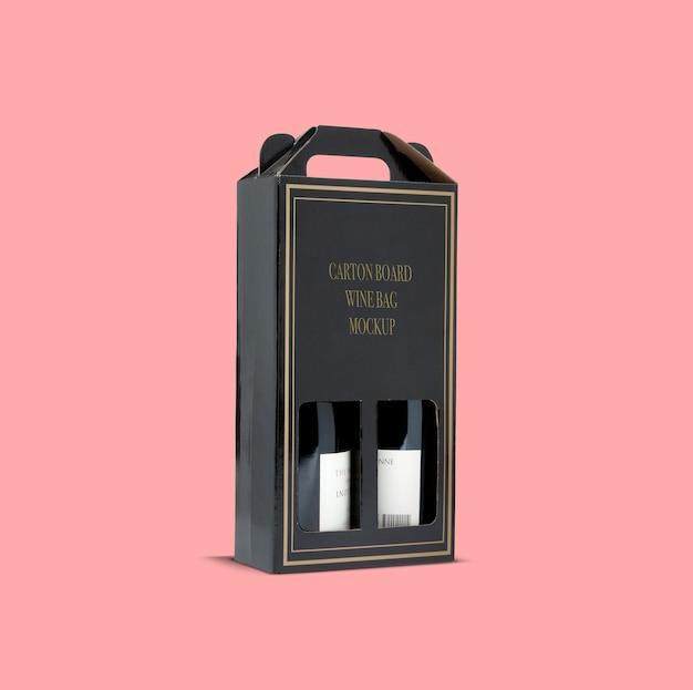 Caixa de cartão winebag maquete