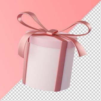 Caixa de cilindro de presente de fita rosa isolada renderização 3d transparente
