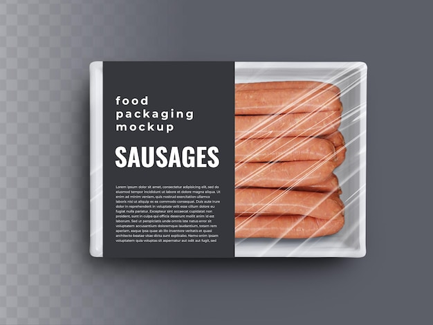 Caixa de comida recipiente maquete de salsichas de carne em embalagem de plástico e rótulo de capa de papel