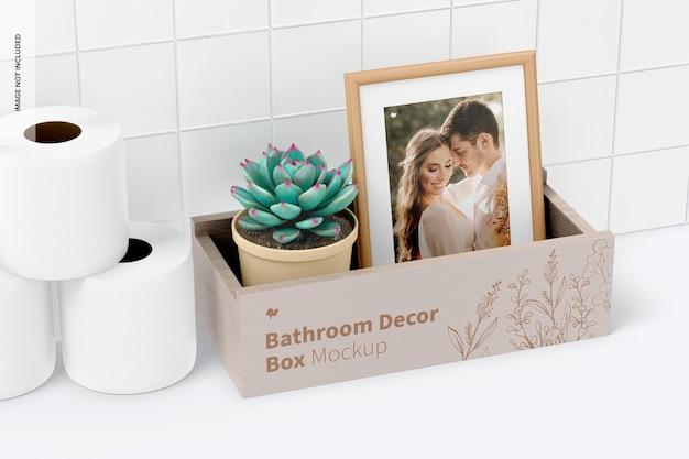 Caixa de decoração de casa de banho com moldura mockup