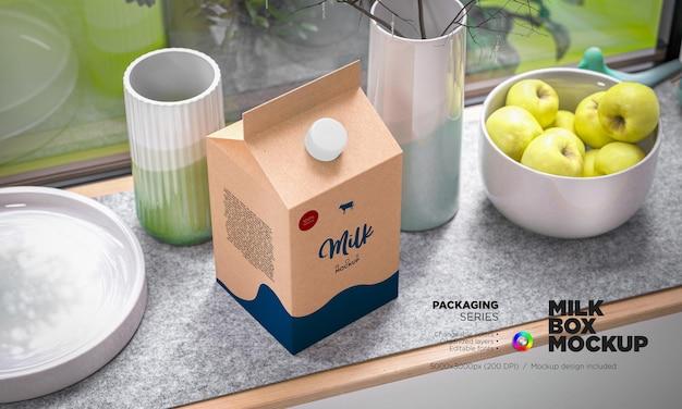 Caixa de embalagem de leite de maquete em renderização 3d
