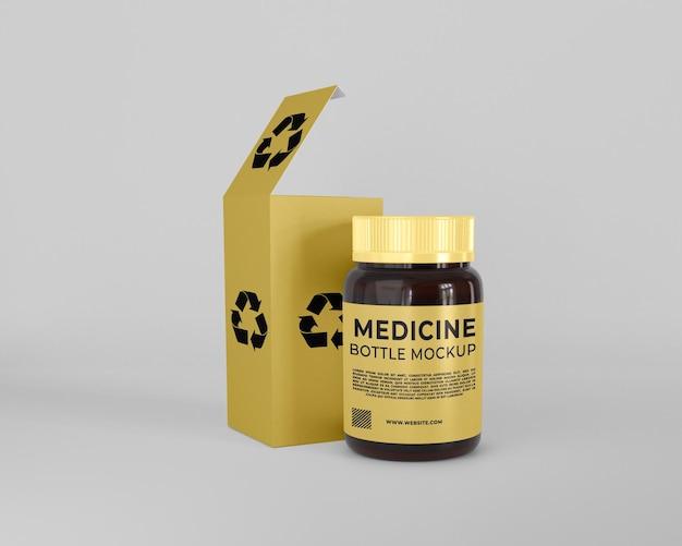 Caixa de embalagem de medicamentos para cuidados de saúde e maquete de frasco de comprimidos