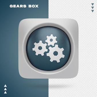 Caixa de engrenagens em 3d renderin isolada