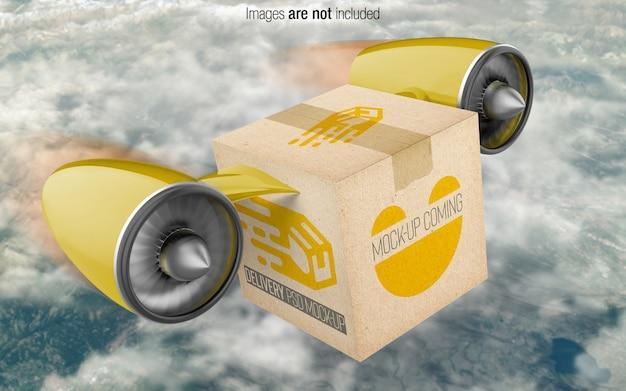 Caixa de entrega psd maquete vista em perspectiva