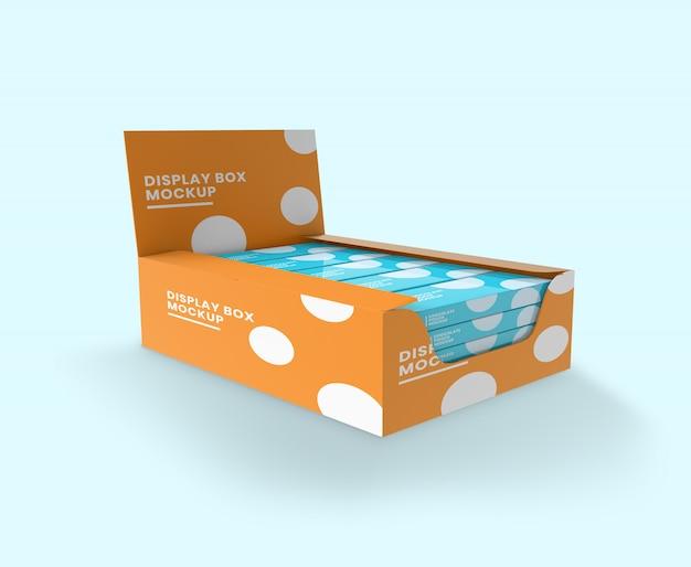 Caixa de exibição com maquete de mini caixas