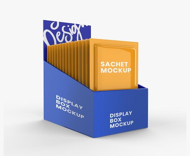 Caixa de exibição com maquete de saquinho
