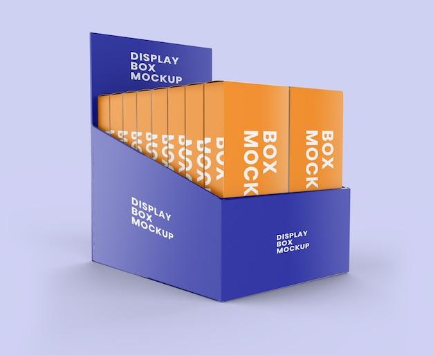Caixa de exposição com maquete de mini caixas