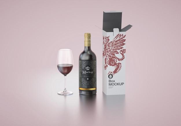 Caixa de garrafa de vinho e maquete de vidro