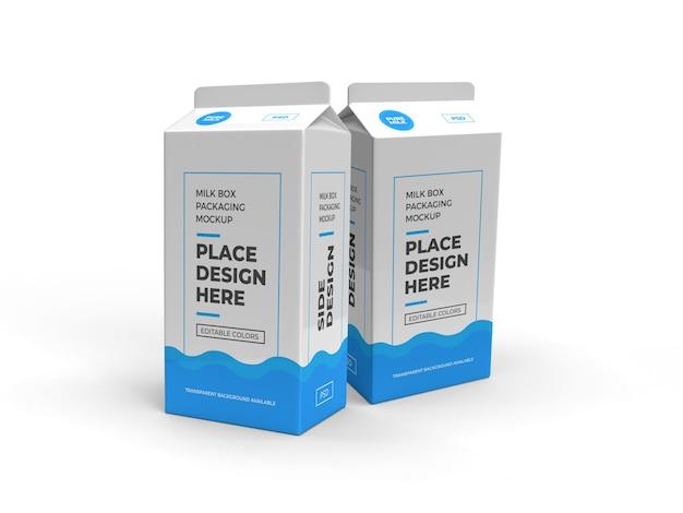 Caixa de leite e maquete de embalagem de bebida