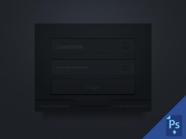 Caixa de login escuro