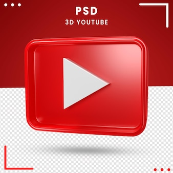 Caixa de logotipo girada em 3d do youtube