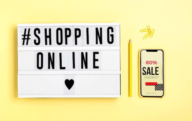 Caixa de luz com compras on-line