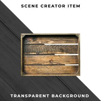 Caixa de madeira no fundo transparente