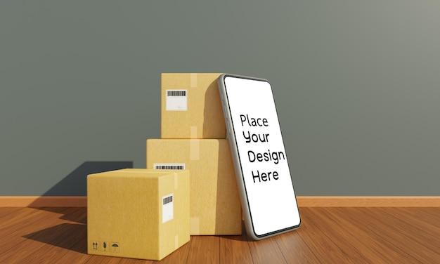 Caixa de pacote com renderização 3d para smartphone