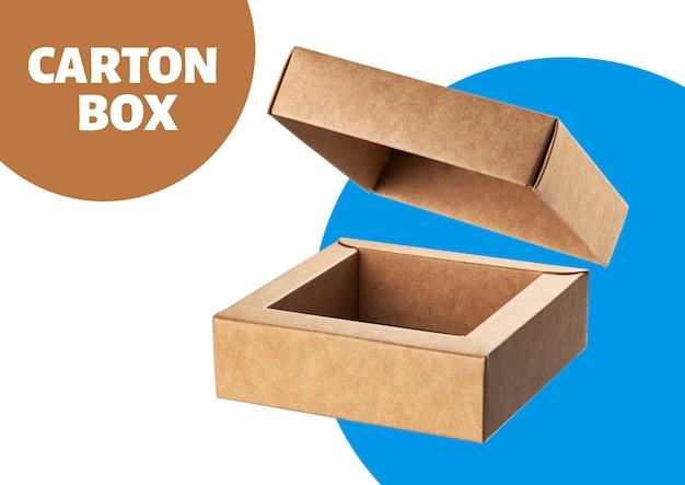 Caixa de papelão aberta simulada acima isolada