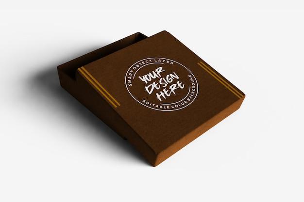 Caixa de papelão com maquete de tampa aberta