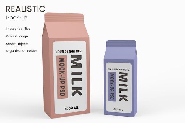 Caixa de papelão de leite com design de maquete de vidro