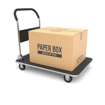 Caixa de papelão em um carrinho de mão