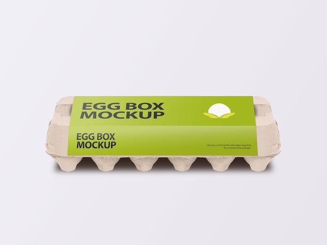 Caixa de papelão para ovos com vista frontal do modelo de rótulo embrulhado