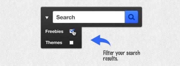 Caixa de pesquisa preto com botões de seleção