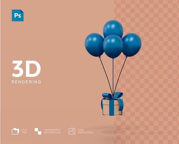 Caixa de presente 3d com renderização de conceito de balão