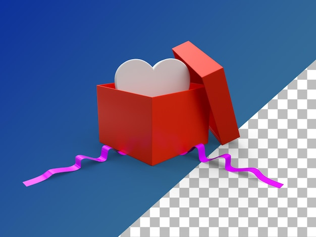 Caixa de presente aberta 3d render isolada