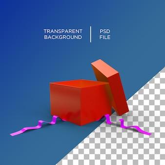Caixa de presente aberta em renderização 3d isolada