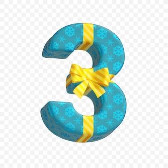 Caixa de presente alfabeto presente número 3 isolado 3d render