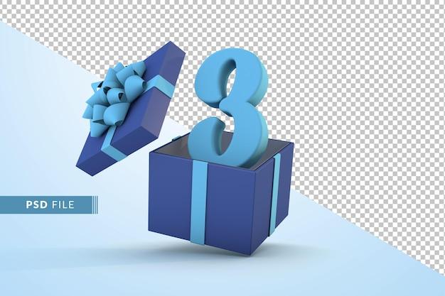 Caixa de presente azul e número 3 azul - um conceito de celebração de feliz aniversário 3d render