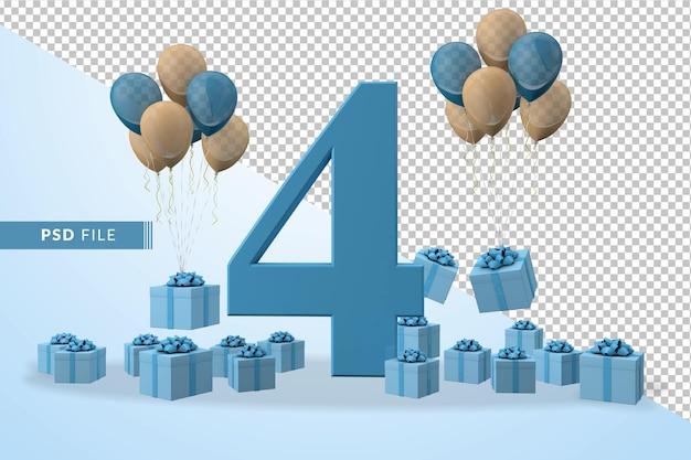 Caixa de presente azul para comemoração de aniversário número 4, balões amarelos e azuis