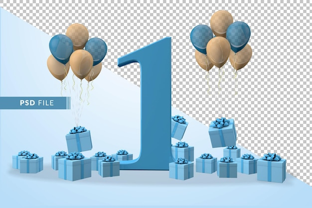 Caixa de presente azul para festa de aniversário número 1 balões amarelos e azuis