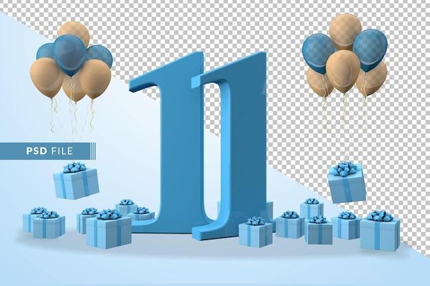 Caixa de presente azul para festa de aniversário número 11 balões amarelos e azuis