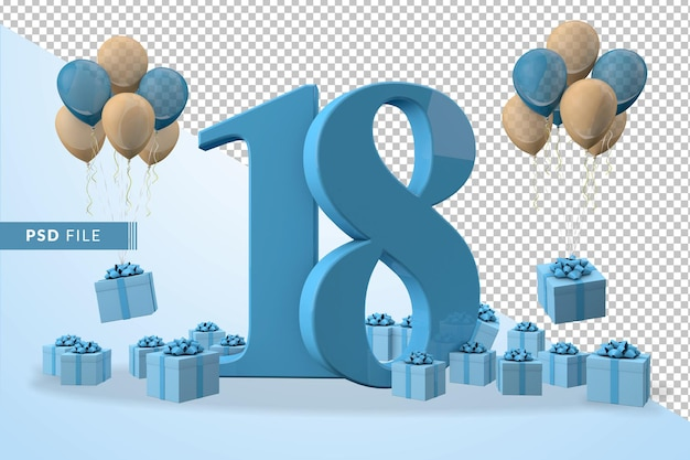 Caixa de presente azul para festa de aniversário número 18, balões amarelos e azuis