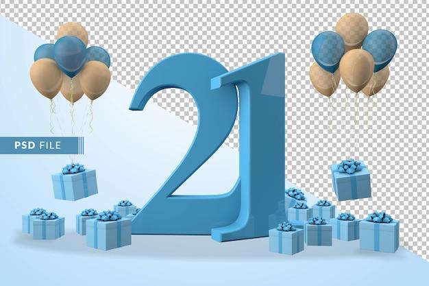 Caixa de presente azul para festa de aniversário número 21, balões amarelos e azuis