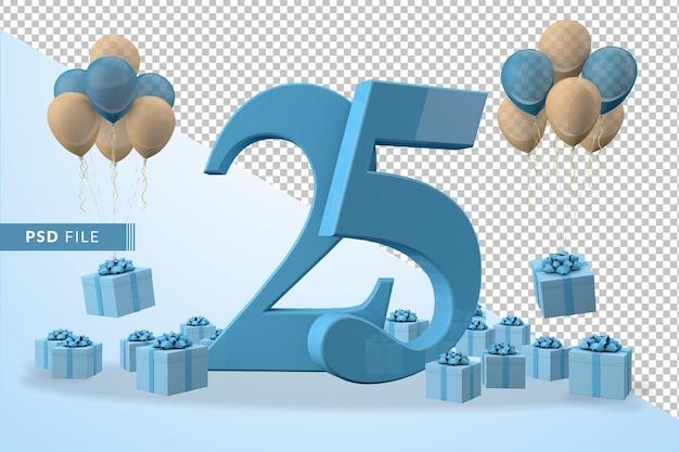 Caixa de presente azul para festa de aniversário número 25, balões amarelos e azuis