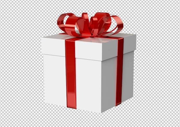 Caixa de presente branca com fita vermelha e laço