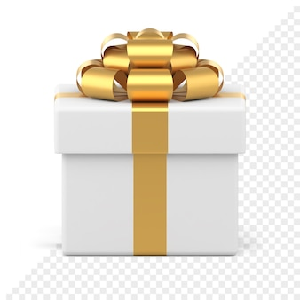 Caixa de presente branca com laço dourado para decoração de natal