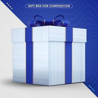 Caixa de presente com desenho de fita azul