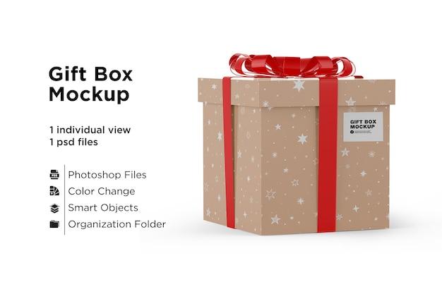 Caixa de presente com maquete de fita vermelha