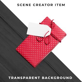 Caixa de presente com tag isolada com traçado de recorte.
