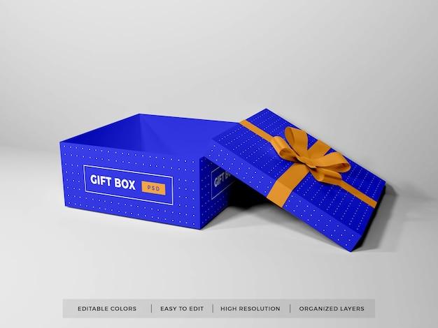 Caixa de presente de natal com fita maquete isolada