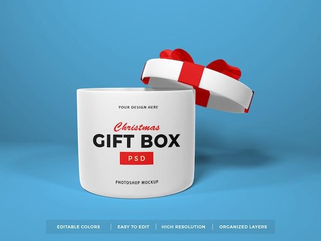 Caixa de presente de natal com modelo de fita