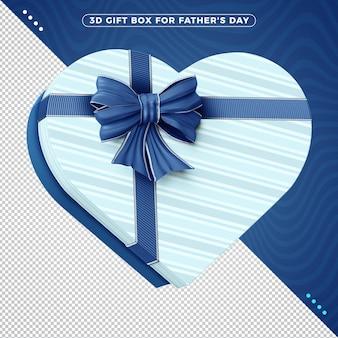 Caixa de presente decorativa 3d com fita azul para o dia dos pais