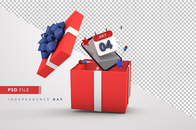 Caixa de presente, dia da independência americana, 4 de julho