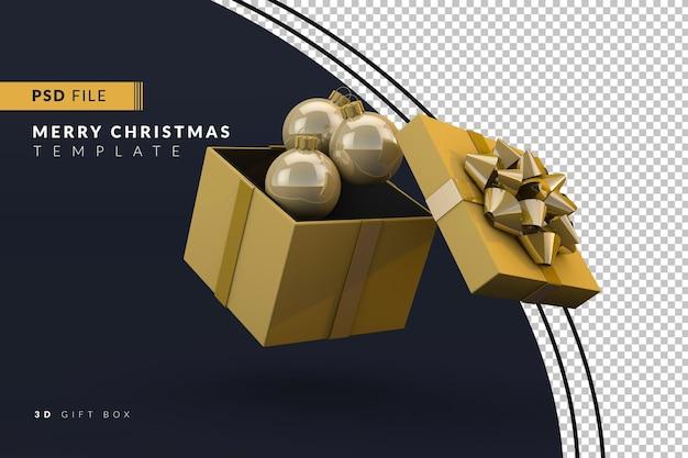 Caixa de presente e bolas de natal, um conceito de natal 3d